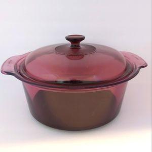 PYREX | VISIONS CORNING Dutch Oven Stock Pot Teflon Base with Lid Cranberry 5L